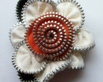 Warm White and Orange Floral Brooch / Zipper Pin by ZipPinning 2768