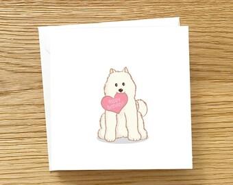 Dog Birthday Card -  Samoyed with Heart, Samoyed Birthday Card, Samoyed Card, Samoyed love card, Sammy Dog, Samoyed stationery, samoyed art