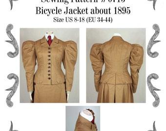 Edwardianische Jacke um 1895 Schnittmuster #0715 Größe EU 34-56 PDF Download