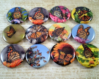 Butterfly Magnets, Monarch Butterfly Pins, Fridge Magnets