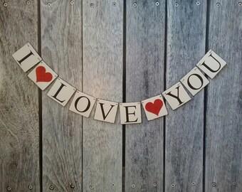 I love you banner, wedding love banner, valentines banner, wedding banner, wedding photo backdrop, wedding decorations, valentines backdrop
