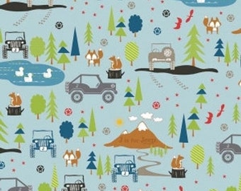 Summer Clearance Jeep fabric J is for Jeep Main in Blue by Riley Blake Fabrics 1 Yard