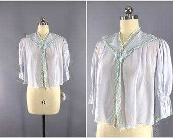 Vintage 1940s Bed Jacket / 40s Lingerie /  Pastel Blue Lace