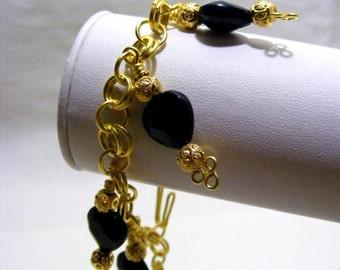 Black Heart Charm Bracelet