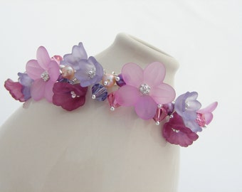 Pink, Purple, & Plum Lucite Flower and Sterling Silver Bracelet with Pearls and Crystals