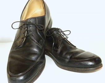 Vintage Black Leather OXFORD Shoes / Kinney Oxfords Pebbled Leather Size Men 8.5 - 9 Women 10.5 - 11