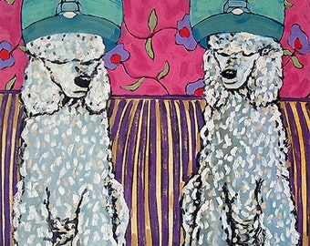 25% off Poodles at the Salon signed dog art print