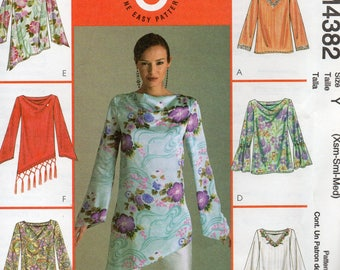 McCall's 6 Great Looks Pattern 4382 Bubble Sleeve TOPS & TUNIC Misses Sizes Xsm Sm Med
