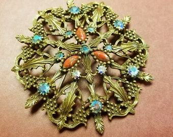 Gorgeous and Vintage Bronzy Brooch by Emmons. 1960's Ornate