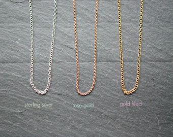 Simple chain necklace - sterling silver goldfilled rose goldfilled - chain only 2mm rolo - DIY customize - long necklace - layering jewelry