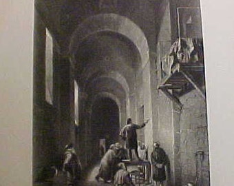 """Steel Engraving  """"The Painter in Prison"""" from about 1890 to 1910"""