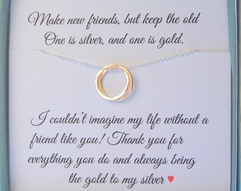 Gift for best friend, Mixed metal jewelry, Best friends, BFF, Gifts for her