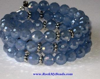 Light Blue memory wire rosary bracelet,bracelet,rosary,religious bracelet,praying beads,wrap rosary,rosary beads,prayer beads,wrap bracelet