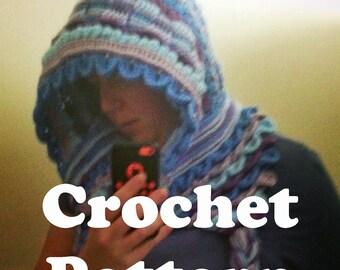 Crochet Hoodie Pattern, Crochet Pattern Hood, Scoodie Pattern, Dragon Stitch Pattern, How to Crochet, Digital Download Crochet, Pattern PDF