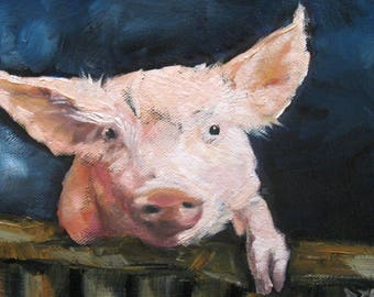 Hello Piglet! Pig Art, Rooster Art, Country art, The Farm,  DIGITAL DOWNLOAD file 7 by 10