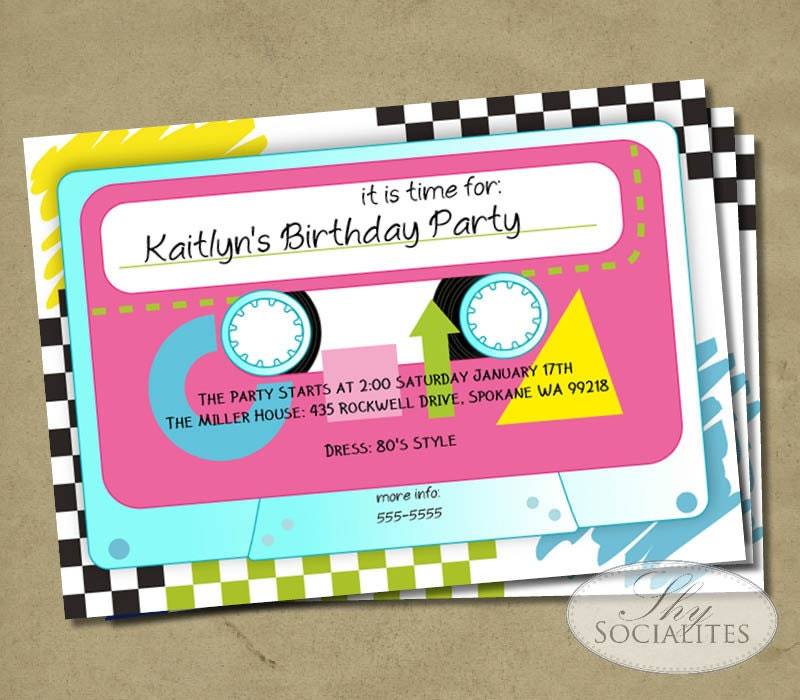 Famous 1980s Party Invitations Images Invitation Card Ideas