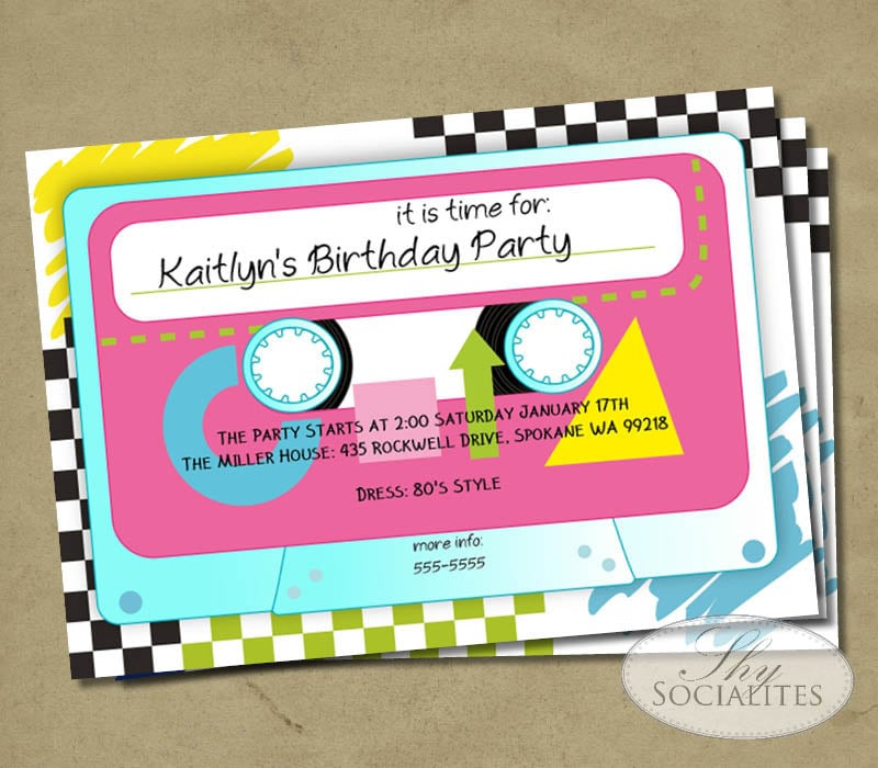 Cassette Tape Invitation 80s Party Music Party Dance