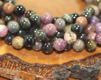Genuine Gemstone Beads, Tourmaline Mix, 8mm, 8 Inch Strand