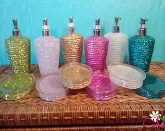 Glitter Soap Dispenser, Soap Dish, Toothbrush Holder, (Plastic) (Your Choice