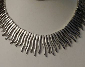 Sun Ray Necklace, Silver Choker, Icicles, Chic, Art Deco, Solid and Heavy, Cable String, Unique