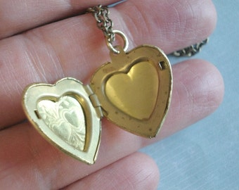 Brass Heart Locket Gift Under 25 Gold Heart Necklace Vintage Brass Heart Long Brass Chain Bridesmaid Necklace Locket Jewelry