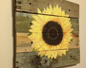 Sun Flower,Sunflower,21x21,Pallet Art,rustic wall decor,reclaimed wood,pallet wood,