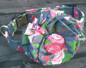 Flower Dog Collar - Floral Dog Collar - Dog Flower - Blue Dog Collar - Floral Fabric - Summer Dog Collar - Dog Bow  - Girl Dog Collar