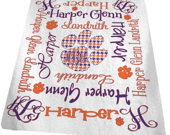 Personalized Baby Blanket Houndstooth Paw Custom Baby Blanket Baby Name Blanket Clemson Girl 30x40 inches