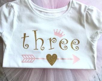 Princess Birthday Tutu, first birthday, second birthday, third birthday, Princess Birthday Shirt, Light Pink Tutu