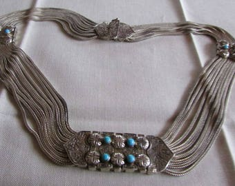 Ten Strand Sterling Silver Foxtail and Turquoise Necklace from Turkey
