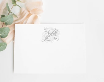 Personalized Monogram Stationery Set, Wedding Thank You Cards, Floral Wreath Monogram, Thank You Cards, Floral Monogram
