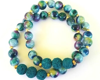 Multi Color Jade Bracelet with Teal Diffuser Beads