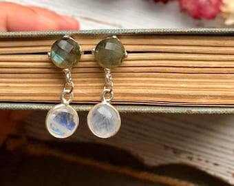 labradorite and chalcedony dangle earrings, gift for her, bridesmaid gift