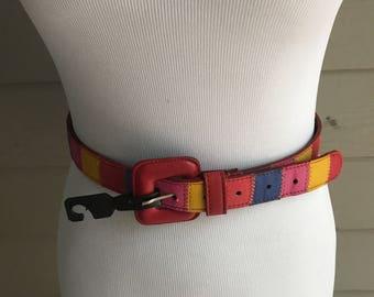 Leather Belt - Multi-Color- 80's  Belt - Vintage Belt