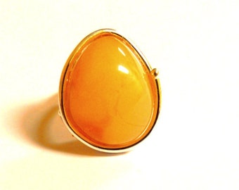 Baltic Amber Jewelry Butterscotch Ring Adjustable Untreated Natural 925 Silver 10.1 gram