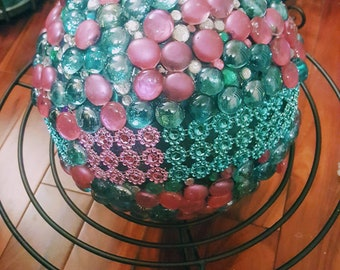 Decorative Bowling Ball: Pink & Turquoise