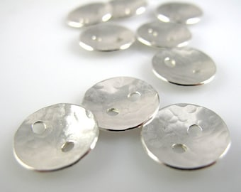 Sterling Silver Buttons, 1/2 Inch, 13mm, Textured, Hammered, Polished QTY 10