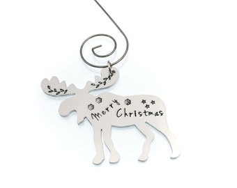 Moose Christmas Tree Ornament | Personalized Hand Stamped Ornament | Merry Christmas | Christmas Decoration | Holiday Decoration | Host Gift
