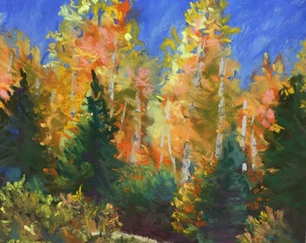 """Original Impressionist Landscape Pastel Painting, Aspens in the Afternoon, 8"""" x 10"""""""