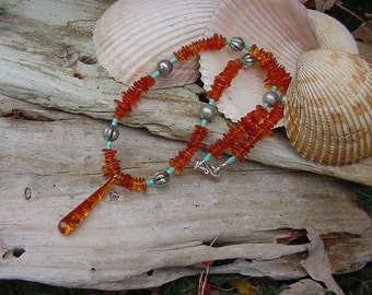 "Genuine Real Amber with Turquoise and Sterling Necklace 19.25""  (5h496)"