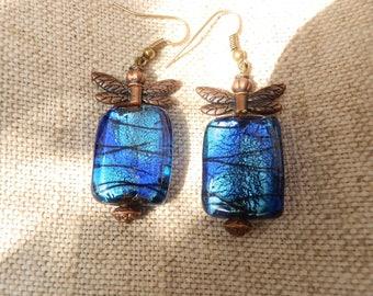 Dragonfly earrings/beaded earrings/Gypsy chic/Boho earrings/yoga jewelry/Hippie jewelry/copper earrings/Blue glass beads/whimsical jewelry