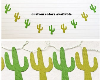 Cactus Garland - 5 Inches Tall - Fiesta Decorations Cactus Decor Banner Fiesta Party Green Cacti Succulent Garland Western Party Southwest