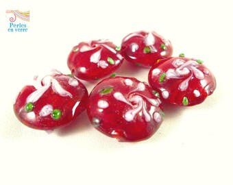 5 lampwork beads, pucks domed red glass 10x20mm (pv192)
