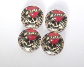 Set of 4 cabochon 18 mm skull tattoo