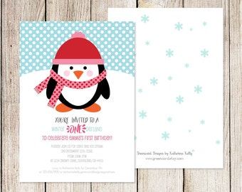 Penguin party invitation, penguin birthday party, first birthday, printable penguin, winter birthday, baby shower, 1st birthday party