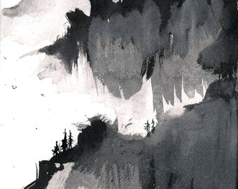 Mountain painting 8x12in, A4 on PAPER  sumi painting of abstract mountains