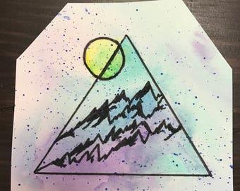 Small mountain watercolor painting - original