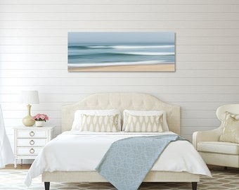 Coastal Wall Decor, Large Abstract Beach Canvas Wall Art, Ocean Seascape Print, Cape Cod Beach Canvas Panorama, Teal Blue Seafoam Tan Beige