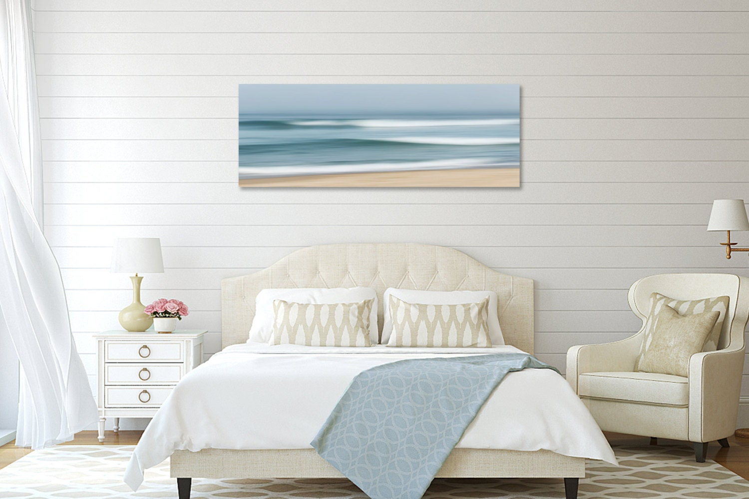 Coastal Wall Decor: Coastal Wall Decor Large Abstract Beach Canvas Wall Art