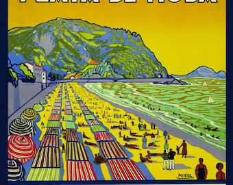 Spain Zarautz  Beach Ocean and Mountain in Gipuzkoa Vintage Poster Repro FREE SHIPPING in USA